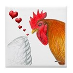 Valentine Rooster in Love Tile Coaster