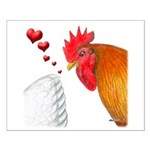 Valentine Rooster in Love Small Poster