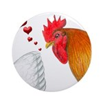 Valentine Rooster in Love Ornament (Round)