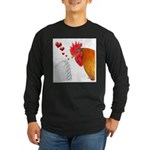 Valentine Rooster in Love Long Sleeve Dark T-Shirt