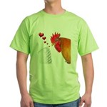 Valentine Rooster in Love Green T-Shirt