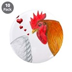 "Valentine Rooster in Love 3.5"" Button (10 pac"