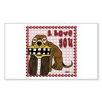 Valentine Dog Rectangle Sticker 50 pk)