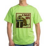 Valentine Dog Green T-Shirt