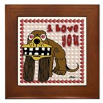 Valentine Dog Framed Tile