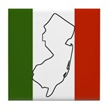 New Jersey Italian Flag Tile Coaster