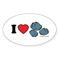 I Love Rocks Oval Sticker