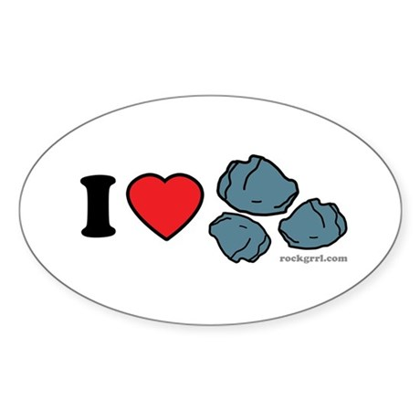 I Love Rocks Oval Sticker (10 pk)