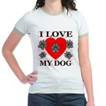 I Love My Dog Jr. Ringer T-Shirt
