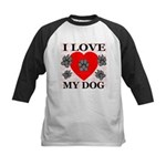 I Love My Dog Kids Baseball Jersey