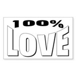 100% Love Rectangle Sticker