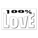 100% Love Rectangle Sticker