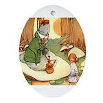 ALICE & THE CATERPILLAR Oval Ornament