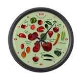 Chili Varieties Large Wall Clock