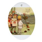 ALICE & THE CHESHIRE CAT Oval Ornament