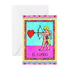 Vintage Loteria Cupid Greeting Card