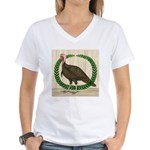 Turkey and Wreath Women's V-Neck T-Shirt