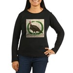 Turkey and Wreath Women's Long Sleeve Dark T-Shirt