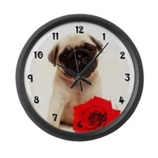 Pug Puppy Large Wall Clock