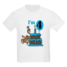 Monkey with Cake 4th Birthday T-Shirt