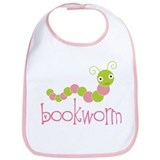 Cute Pink Bookworm Bib