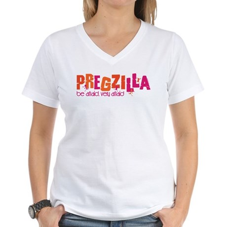 Pregzilla Women's V-Neck T-Shirt