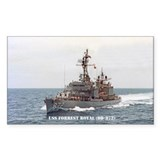 USS FORREST ROYAL Rectangle Sticker 10 pk)