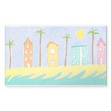 Beach Houses Rectangle Decal