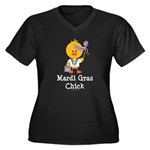 Mardi Gras Chick Women's Plus Size V-Neck Dark T-S