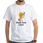 Mardi Gras Chick White T-Shirt