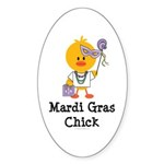 Mardi Gras Chick Oval Sticker (10 pk)