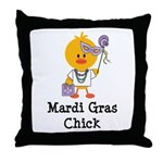 Mardi Gras Chick Throw Pillow