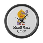 Mardi Gras Chick Large Wall Clock