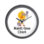 Mardi Gras Chick Wall Clock