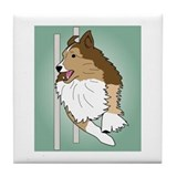 Agility Sheltie Tile Coaster