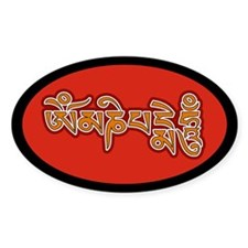 Red Orange Om Mani Padme Hum Oval Decal