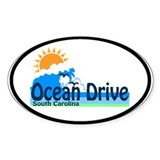 Ocean Drive Beach SC - Waves Design Oval Decal