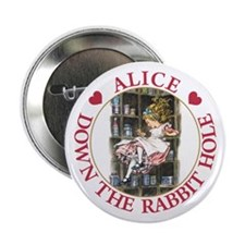 "ALICE DOWN THE RABBIT HOLE 2.25"" Button"