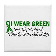 I Wear Green Husband Organ Donor Tile Coaster