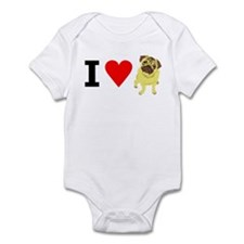 I Heart Pugs Infant Bodysuit