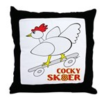 Sk8er Rooster Throw Pillow