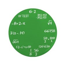 "Green Math Clock 3.5"" Button"