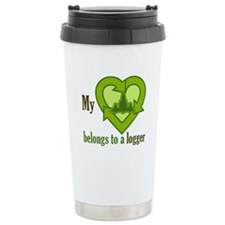 My Heart Belongs to a Logger Ceramic Travel Mug