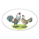 Ameraucana Chicken Pair Oval Sticker (10 pk)