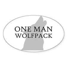 One Man Wolf Pack Oval Decal