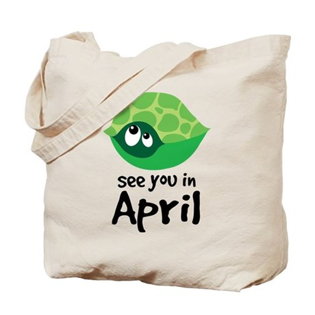 April Turtle Baby Announcement Tote Bag