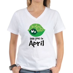 April Turtle Baby Announcement Women's V-Neck T-Sh