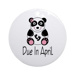 April Due Date Panda Ornament (Round)