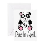 April Due Date Panda Greeting Card