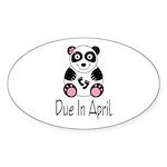 April Due Date Panda Oval Sticker